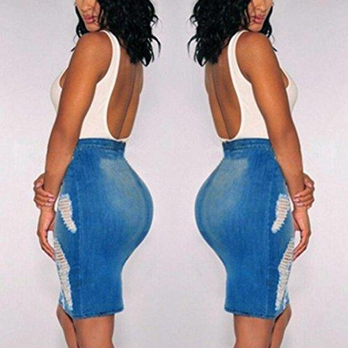 ADESHOP Femmes Stretch Bodycon Mini Jupe High Waisted DéChiréE Trou Chaud DéColleté Mini Skirt Mode Solide Couleur Trou Serré Taille Haute Jupe En Jean