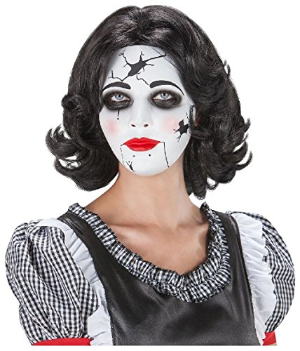 [Women'S China Broken Doll Mask Broken Babydoll Gothic Halloween Costume] (Gothic China Doll Costume)
