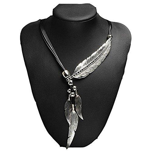 (Meoket Women's Bronze Rope Chain Feather Pendant Choker Bib Necklace Bohemian Style Necklace (SILVER))