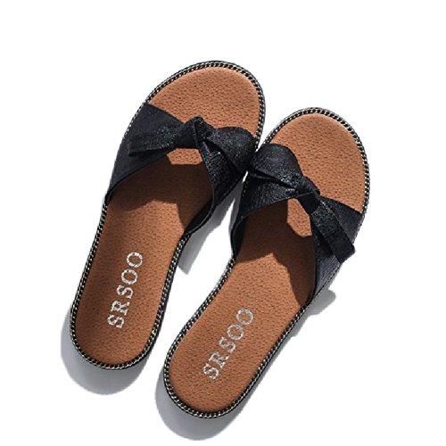 Btrada Fashion Bowknot Sandals For Women Flat Anti-Slip Summer Beach Sandals Black