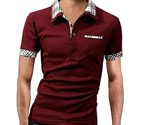 (NAIL39) メンズ ポロシャツ 半袖 クール シャツ ハーフ スポーツ ゴルフウエア 重ね着風 襟付き 無地 柄 半袖 速乾