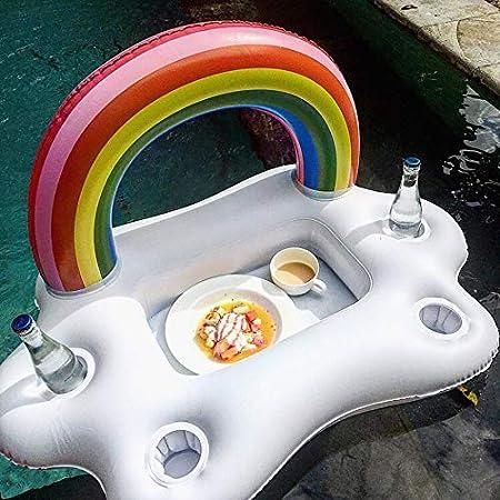 Multicolore ClookYuan Secchio per Feste estive Arcobaleno Nuvola Portabicchieri Piscina Gonfiabile Galleggiante Birra Bevande rinfrescanti Tavolo Bar Vassoio Beach Nuoto Anello
