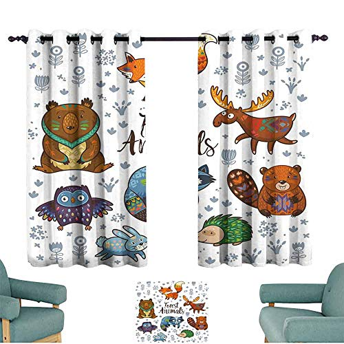 HCCJLCKS Warm Curtain Cabin Decor Set of Cute Woodland Animals Tribal Nature Elements Kids Room Nursery Wall Art Thermal Insulated Block Out Sunlight Shade W55 xL45 Multicolor