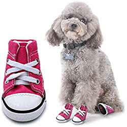 "Scheppend Anti-Slip Dog Boots for Small Dogs Sport Shoes Fashion Pet Sneakers,Pink #2(1.7"" Lx1.3 W)"