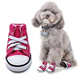 Scheppend Anti-Slip Dog Boots for Small Dogs Sport Shoes Fashion Pet Sneakers,Pink #1(1.6'' Lx1.2 W)
