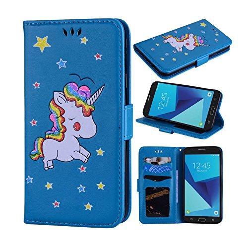 Samsung Galaxy J7 V / J7 2017 / J7 Prime / J7 Perx / J7 Sky Pro/Galaxy Halo Case, Ranyi [3D Glitter Unicorn Embossed] [Flip Magnetic Wallet] [3 Card Slot] Cute Leather Folio Wallet Case (Blue)