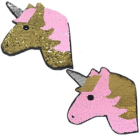 unicorn reversible change color sequins sew on patches for clothes applique  X