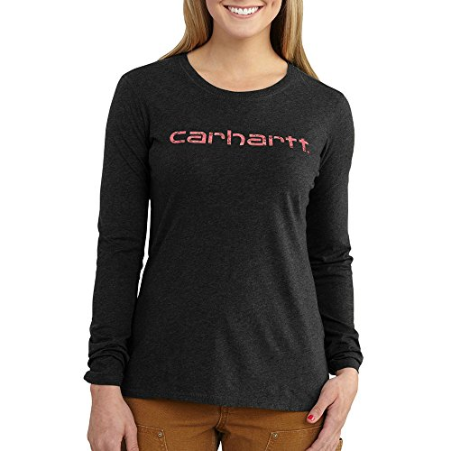 (Carhartt Women's Long Sleeve Signature T Shirt, Black Heather, Small)