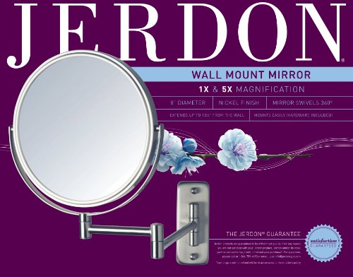 Jerdon JP7506N 8-Inch Wall Mount Makeup Mirror with 5x Magnification, Nickel Finish by Jerdon (Image #1)