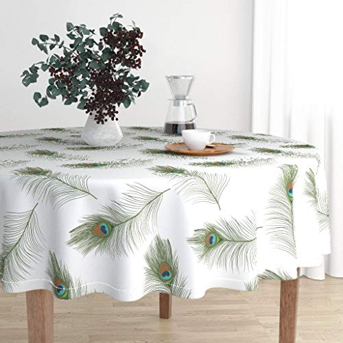 Drawn Cotton - Roostery Round Tablecloth - Animal Print Exotic Peacock Feathers Hand Drawn Tropical Jungle by Ellila - Cotton Sateen Tablecloth 70in
