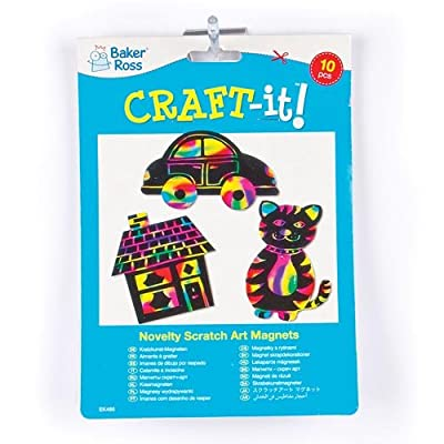 Baker Ross EK485 Scratch Art Magnet, Assorted, 10 Pack