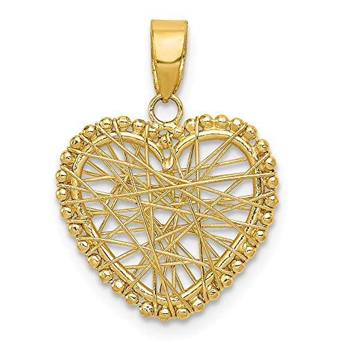 14k Yellow Gold Wire Heart Pendant Charm Necklace Love Fine Jewelry Gifts For Women For Her