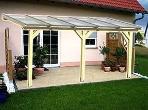 Luxbach GmbH - Cubierta para terraza, 500 x 450 cm / 5 x 4,5 m, madera de pérgola BSH, planchas alveolares de 16 mm, transparente: Amazon.es: Jardín