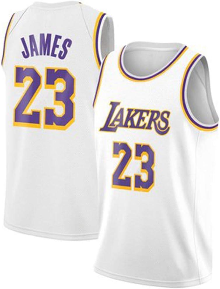 WANLN Camiseta de Baloncesto para Hombre Lebron James # 23 NBA Lakers Bordado niños Hombres fanáticos Camiseta Retro,Blanco,XL: Amazon.es: Jardín