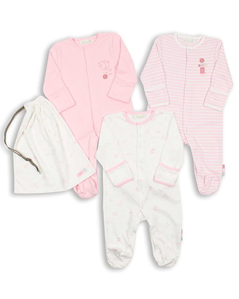 The Essential One - Baby Girl Pack of 3 Pink Sleepsuits - ESS74