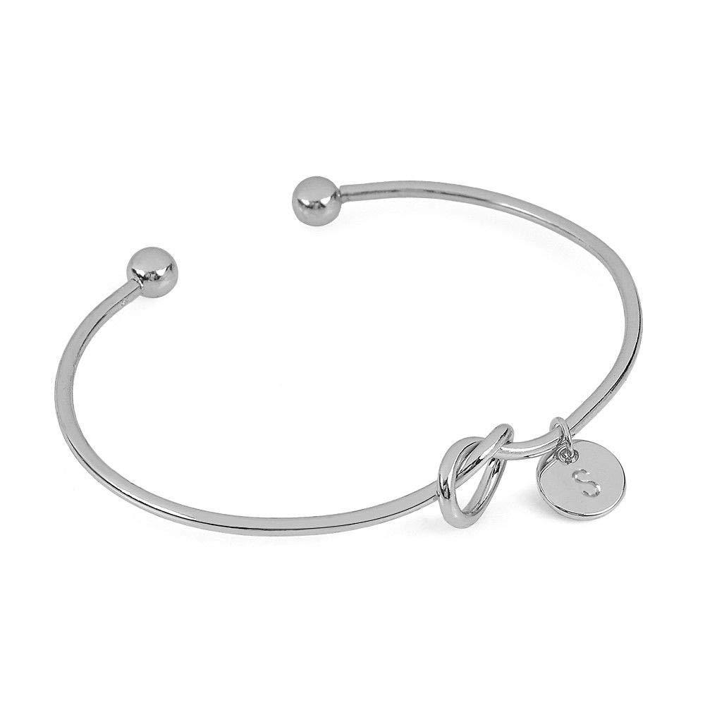New Women European American Style Heart Shape Metal Simple Knotted 26 White Cuff Bracelet Gift for Friends Teens Men (S)
