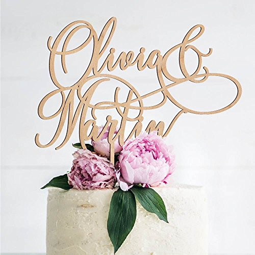Personalized Wedding Cake Toppers, Custom Cake Topper Wooden Wedding Cake Decoration - Mr and Mrs Cake Toppers for Bride and Groom |Wedding Favors - B4 (Casual Wedding Cake Topper)