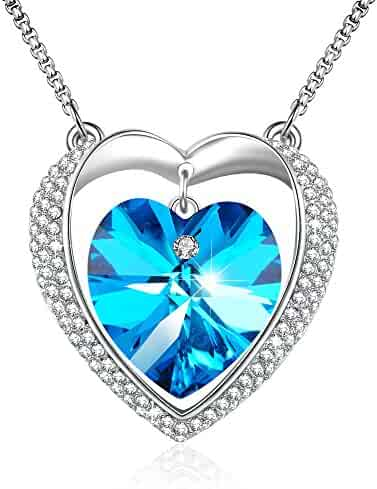 Modogirl Swarovski Elements Crystal Angler Pendant Necklace for Women sea blue Pendants