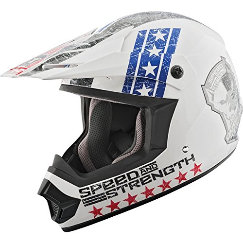Speed and Strength Dogs of War Full Face SS2400 Motorcycle Helmet (Red/White/Blue, Small)