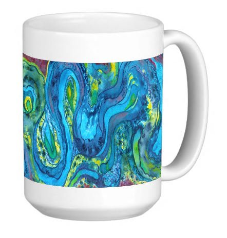 (Water Color Conception Swirls Blue Green 15 ounce Ceramic Coffee Mug Tea Cup)