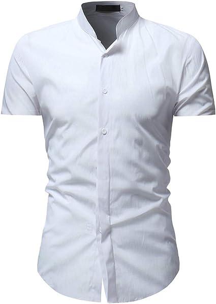 Culater La camisa Botones De Color Sólido para Hombre Camisa Casual De Manga Corta con: Amazon.es: Ropa y accesorios