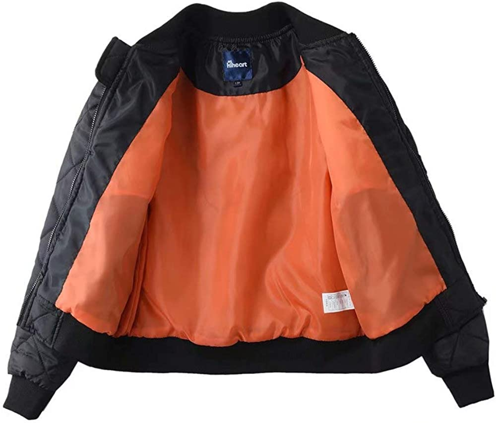 Hiheart Boys Diamond Quilted Padded Barn Jacket MA-1 Flight Bomber Coat Black 4T