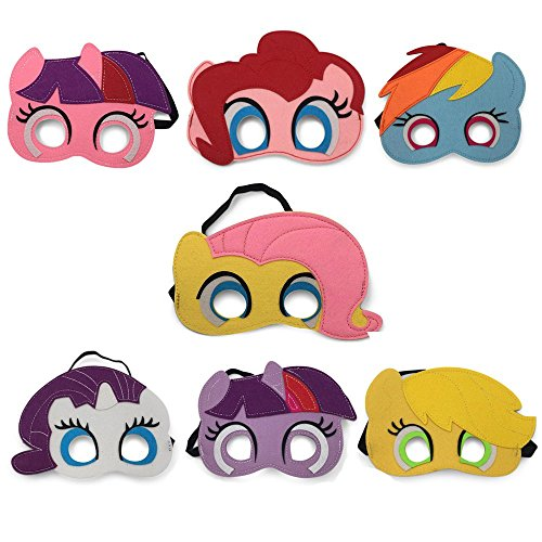 (Pony Party Masks, Set of 7 - Kids Face Masks for Birthdays, Halloween Costumes, Party Supplies, Games and More - Comfortable, One-Size-Fits-Most Design - Premium Quality Eco-Felt and Fleece)