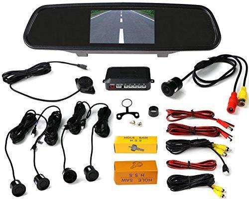 VMATE Car Reversing kit- 4.3 Inch TFT LCD Rearview Mirror Monitor, Backup Camera, 4 Parking Sensors Alarm [並行輸入品] B01MR1YW97