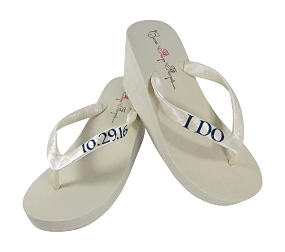 c042a2e31ff0 Amazon.com  Bridal Ivory or White Flip Flops with Customized Wedding Date  Glitter and Colors  Handmade