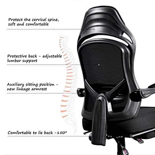 Kommersiell stol med fotstöd, ergonomisk Siesta-stol, 150 graders vilande och höjdjustering, hög täthet andningsbart nät/ingen svett (svart)