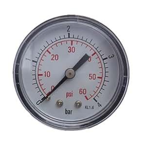 """Pool Spa Jacuzzi Filter 0-60 PSI Pressure Gauge Back Mount 1/2"""""""