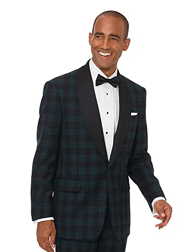 1950s Style Mens Suits | 50s Suits Paul Fredrick Mens Super 100s Wool Tartan Tuxedo Jacket Green $209.98 AT vintagedancer.com