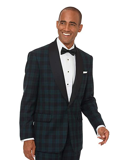 1950s Tuxedos and Men's Wedding Suits Paul Fredrick Mens Super 100s Wool Tartan Tuxedo Jacket $289.95 AT vintagedancer.com