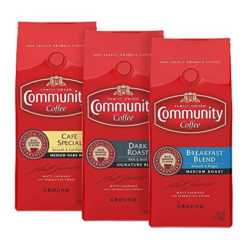Community Coffee Variety Pack Medium to Dark Roast Premium Ground 12 Oz Bag (3 Pack), Medium to Full Body Rich Smooth Taste, 100% Select Arabica Coffee Beans