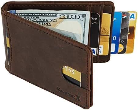 SimpacX RFID Blocking Bifold Slim Genuine Leather Thin Minimalist Front Pocket Wallets for Men Money Clip Full Grain Leather