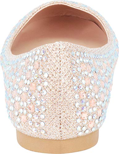 Cambridge Select Women\'s Round Toe Crystal Rhinestone Glitter Ballet Flat
