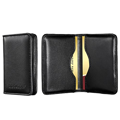 (Genuine Leather Business Card Holder, Wisdompro 2-Sided Professional Folio Credit Name Card Holder Wallet Case with Magnetic Shut for Men and Women, Ultra Slim and Thin - Cowhide Black)