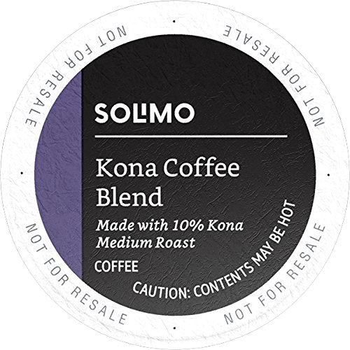 Amazon Brand - 100 Ct. Solimo Medium Roast Coffee K-Cup Pods, Kona Blend, Compatible with 2.0 K-Cup Brewers