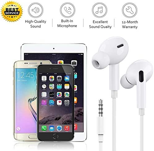 2 Pack-Apple Earbuds/Headphones/Earphones with 3.5mm Wired in Ear Headphone Plug(Built-in Microphone & Volume Control) Compatible with iPhone,iPad,Compter,MP3/4,Android etc[Apple MFi Certified] 51dMlUUqNhL