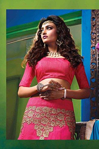 Da Facioun Womens Silk Fabric Pink Pretty Circular Lehenga Style 84062