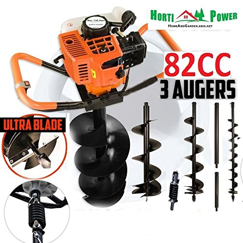 Professional Earth Auger Post Pole Borer 82 CC 3 Drills Bits 100 200 300 Ultrasharp with Extensions