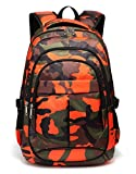 Kids School Backpacks for Boys Camouflage School Bags Durable Bookbags for Children Girls (Camo Orange)