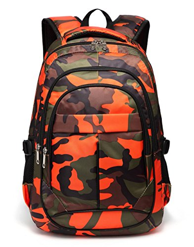 Kids School Backpacks for Boys Camouflage School Bags Durable Bookbags for Children Girls (Camo Orange)