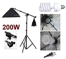 Ardinbir Studio 200W Photo Boom Softbox kit with Continuous Light, Grip head and Stand