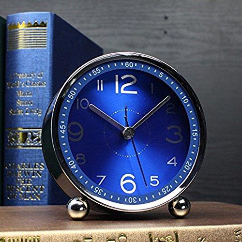 4-inch Table Clock Ultra-quiet Metal Small Alarm Clock, Classic Retro Style Quartz Clock, Desk Cupboard Bedside Travel Alarm Clock (CS-AC06)(blue) by Chengsan (Image #1)