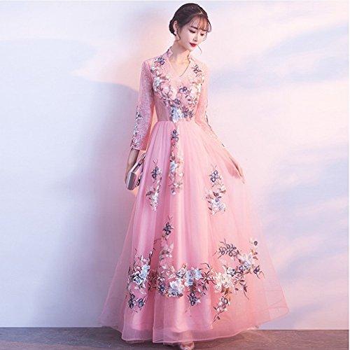 Retro Braut DHG Hochzeit Selbstkultivierung Rot Kleid M Cheongsam Lange Mode Wedding Toast Rosa 4w4Xaq