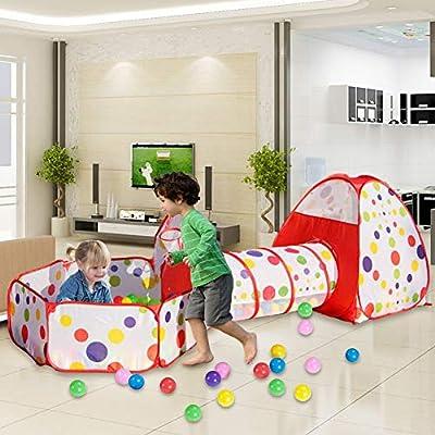 MAIKEHIGH interior / exterior túnel del juego y la tienda del juego de Cubby de Tubo Tipi 3 en 1 zona de juegos infantil para bebés Juguetes para ...