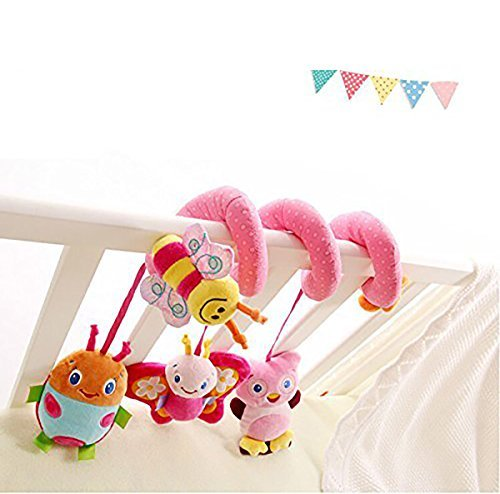 HOSIM Cute Elephant Lion Mirror Design with Music Bell Bed Cribs Pram Toy Musical Cot Stroller Pushchair Wrap Around Gift Activity Toy