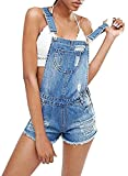 Meilidress Womens Distressed Ripped Denim Overall Shorts (Small, 2-Blue)