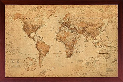 Framed Perfect For Push Pins World Map Vintage for Tracking Trips Poster Dry Mounted